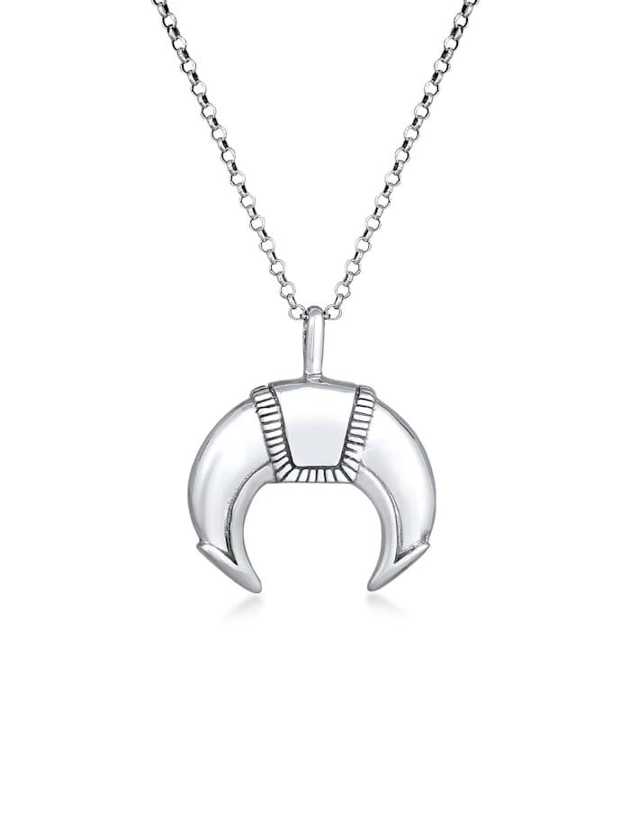kuzzoi - Halskette Herren Tiger Zahn Massiv Talisman 925 Silber  Silber