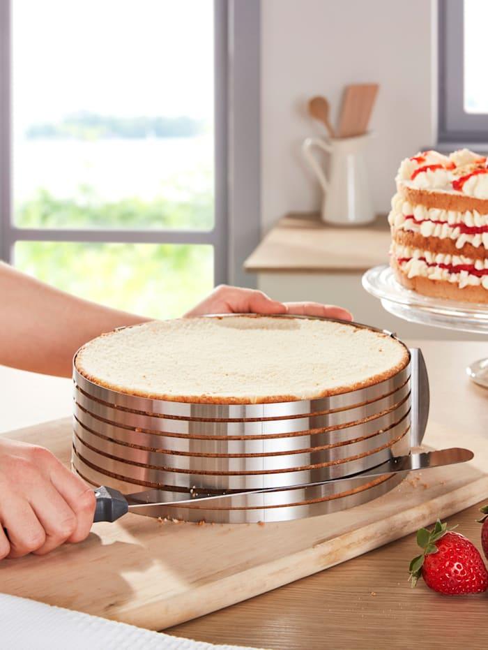2-delige taartsnijhulp HELU zilverkleur