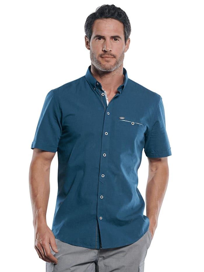 engbers - Sommerliches Kurzarmhemd mit floralen Kontrastdetails  Saphirblau