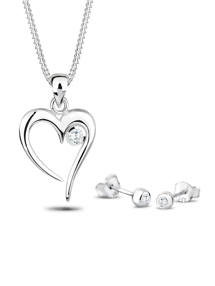 elli - Schmuckset Herz Solitär Zirkonia In Love 925 Sterling Silber  Weiß