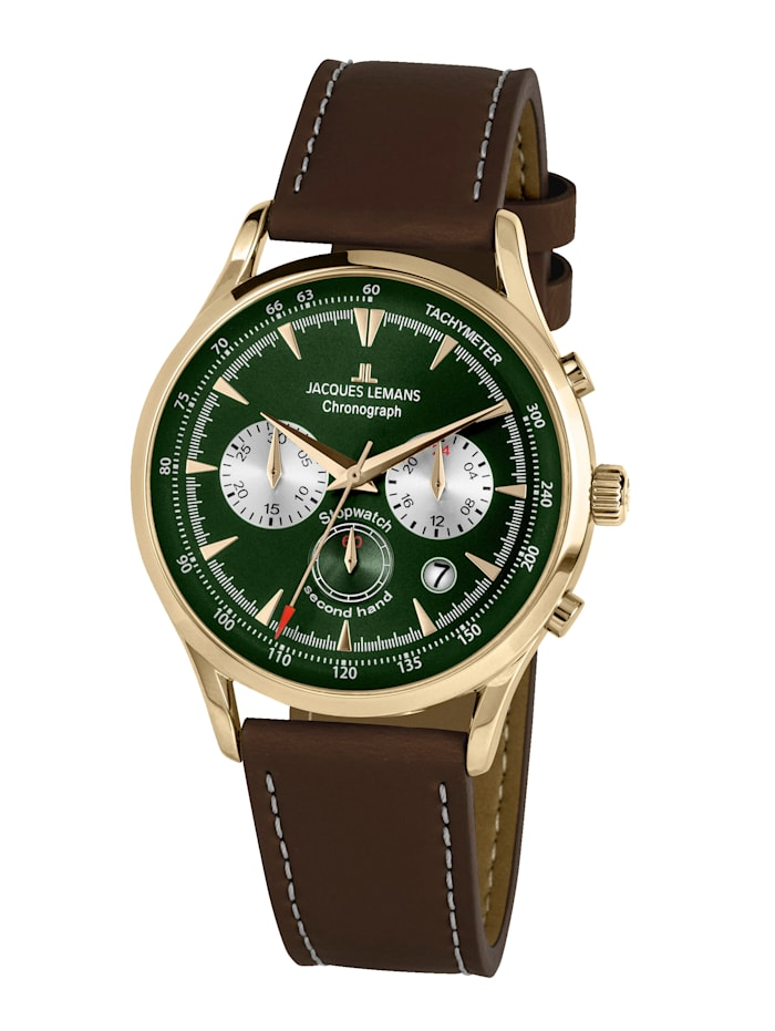 jacques lemans - Herren-Uhr Chronograph  Dunkelbraun