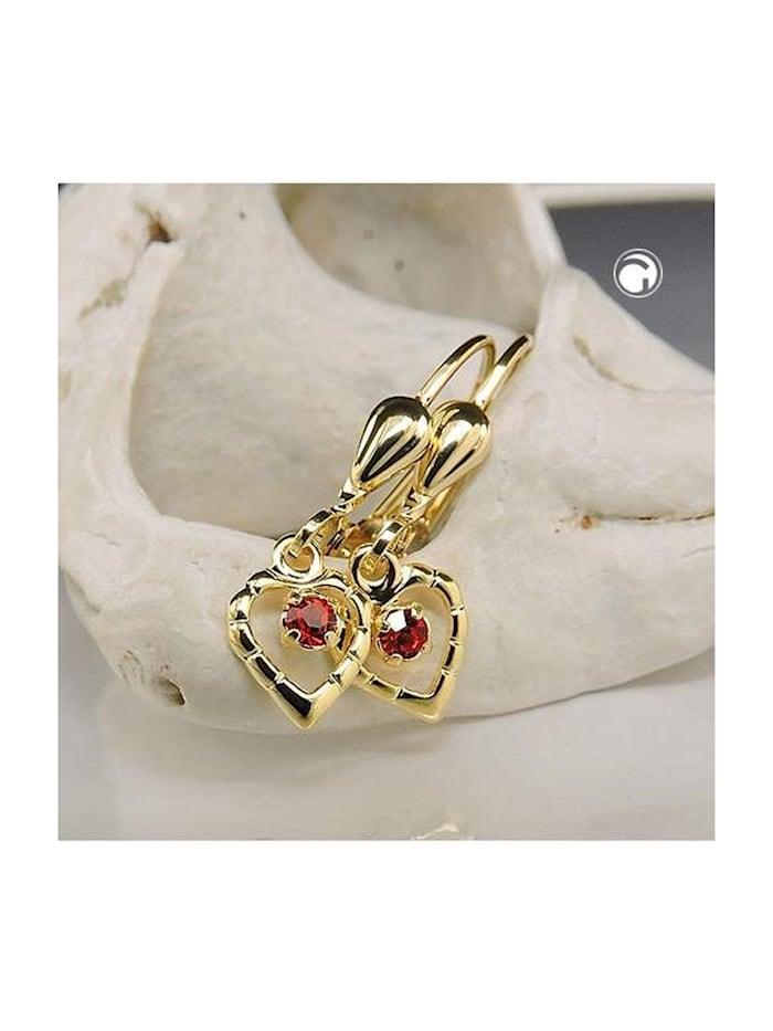 Ohrbrisur Ohrhänger Ohrringe 22x6mm Herz mit Glasstein rot 8Kt GOLD Gallay Schmuckgroßhandel rot