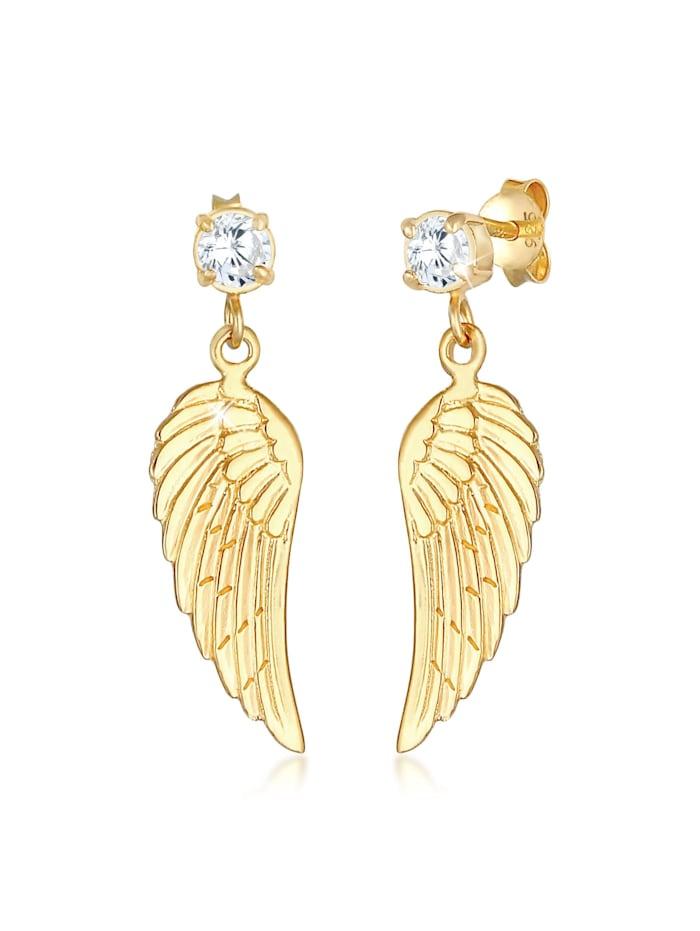 nenalina - Ohrringe Flügel Glücksbringer Zirkonia Hänger 925 Silber  Gold