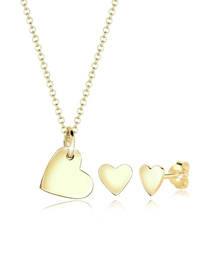 elli premium - Schmuckset Herz Liebesbeweis 375 Gelbgold  Gold