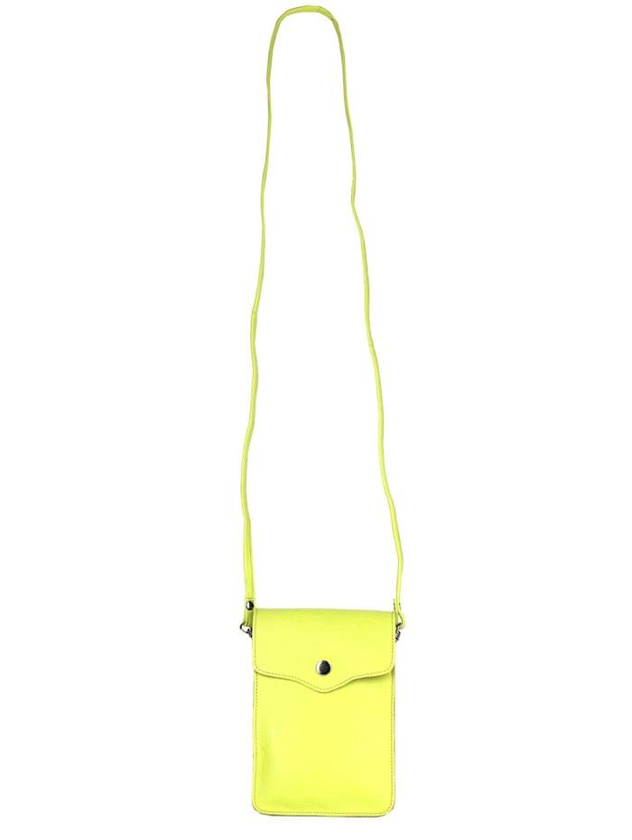 zwillingsherz - Umhängetasche 100% Leder Handytasche Verena  neon gelb
