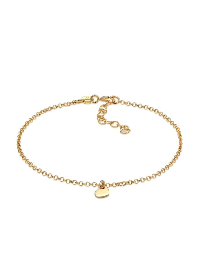 elli - Armband Herz Liebe Romantik Erbskette 925 Silber  Gold