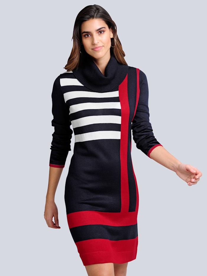 alba moda - Strickkleid  Marineblau::Rot::Off-white