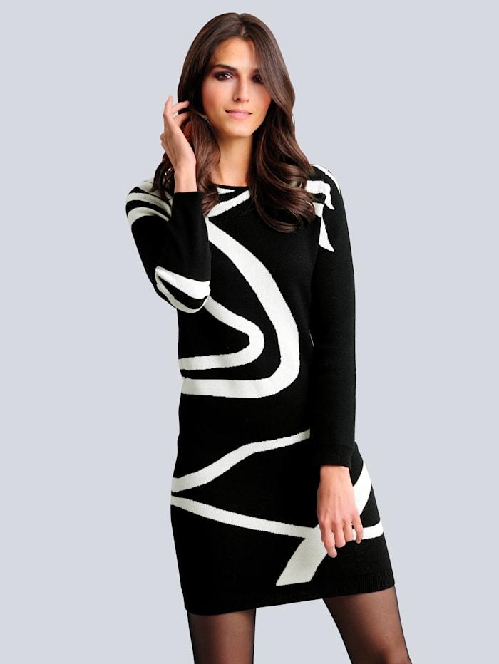 alba moda - Strickkleid  Schwarz::Off-white