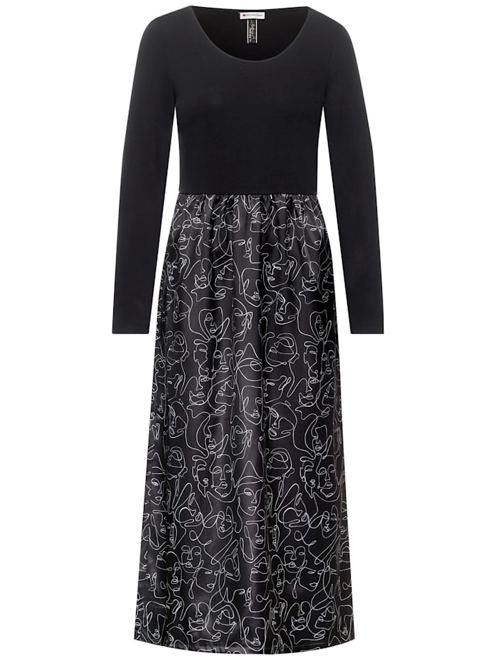 street one - Midi-Kleid mit Satin-Rock  Black