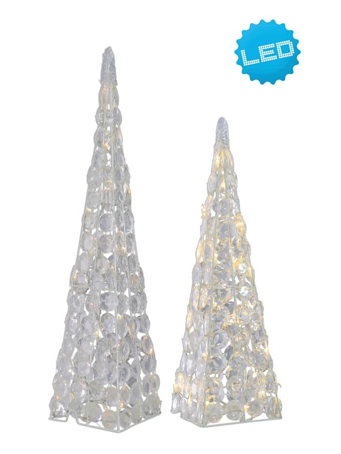 2er-Set LED Acryl Pyramiden Näve Klar