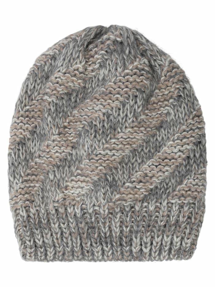apart - Mütze aus Strick in grau  grau-beige