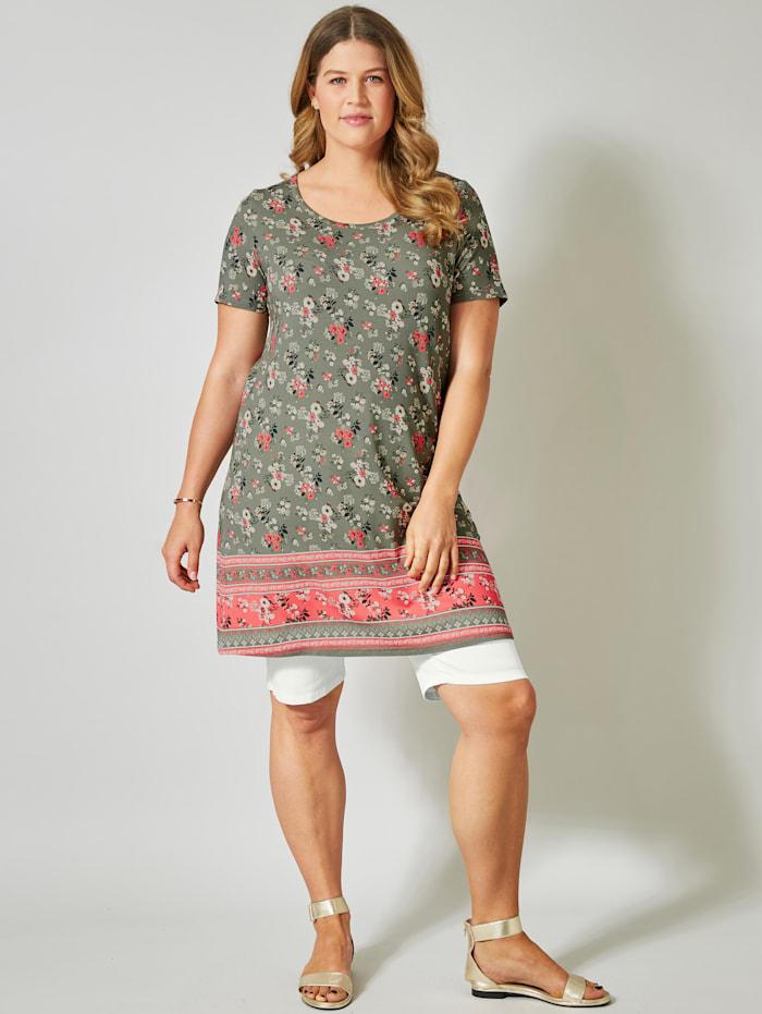 janet & joyce - Jersey-Kleid mit Blumen-Print  Khaki
