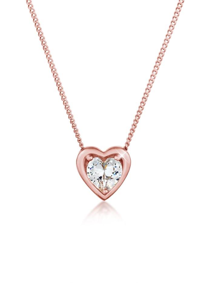 elli - Halskette Herz Love Anhänger Zirkonia Kristall 925 Silber  Rosegold