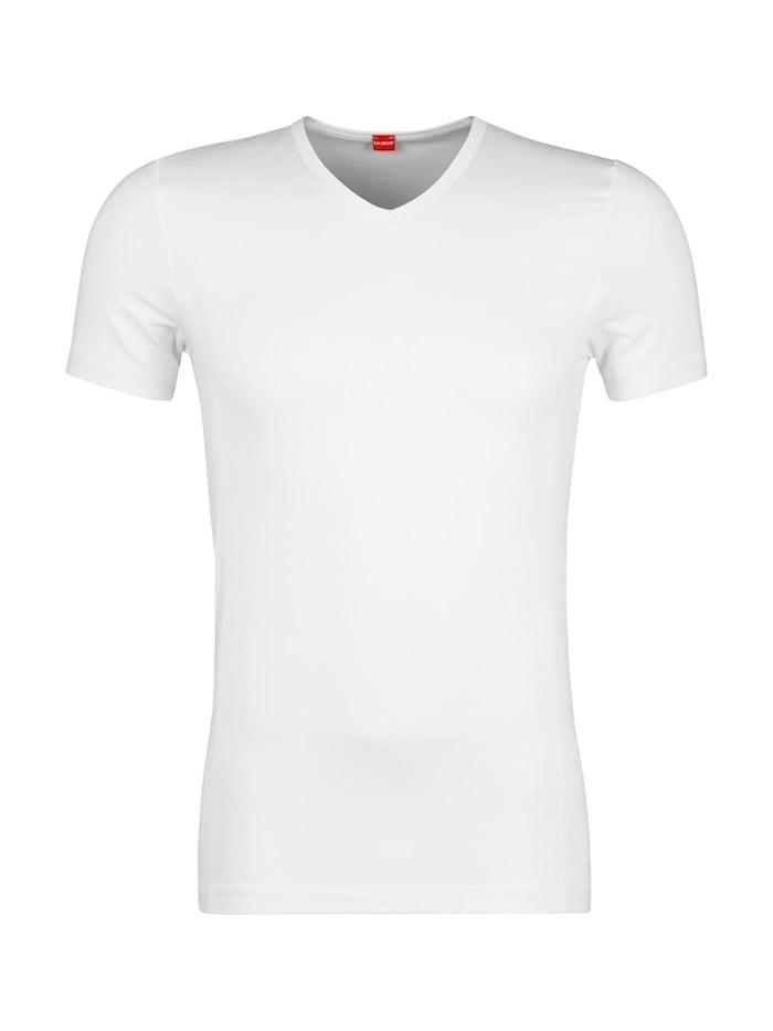 huber bodywear - Kurzarm-Shirt Tyson mit bequemem V-Ausschnitt  weiss