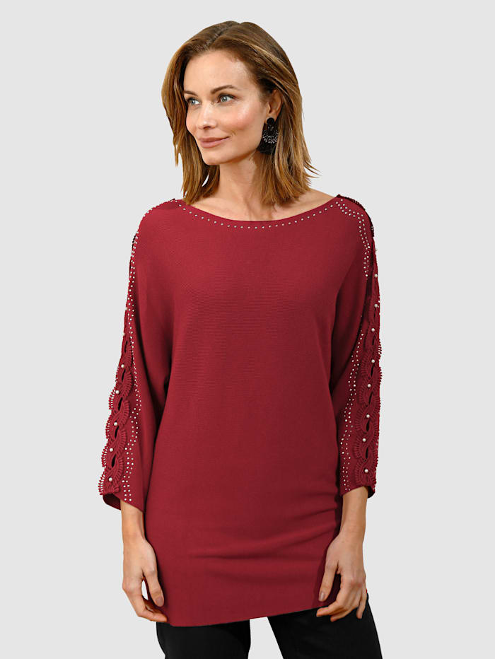 Image of Feinstrickpullover Dress In Rot