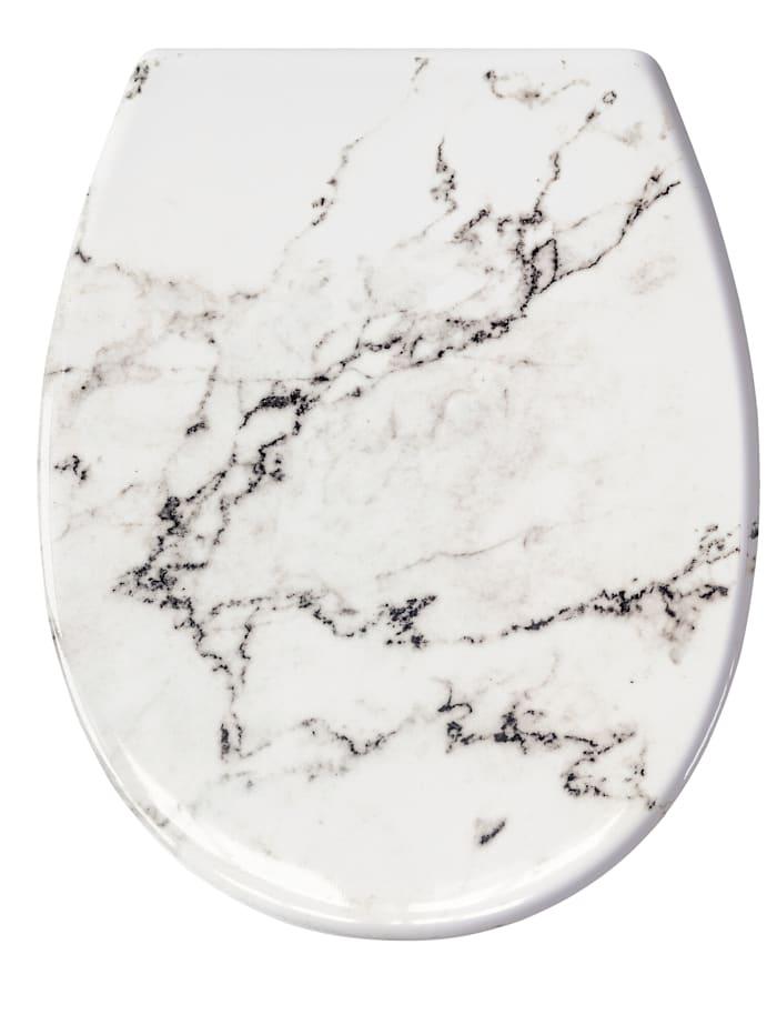 """WC-Sitz """"Marmor"""" Kleine Wolke weiß/grau marmoriert"""