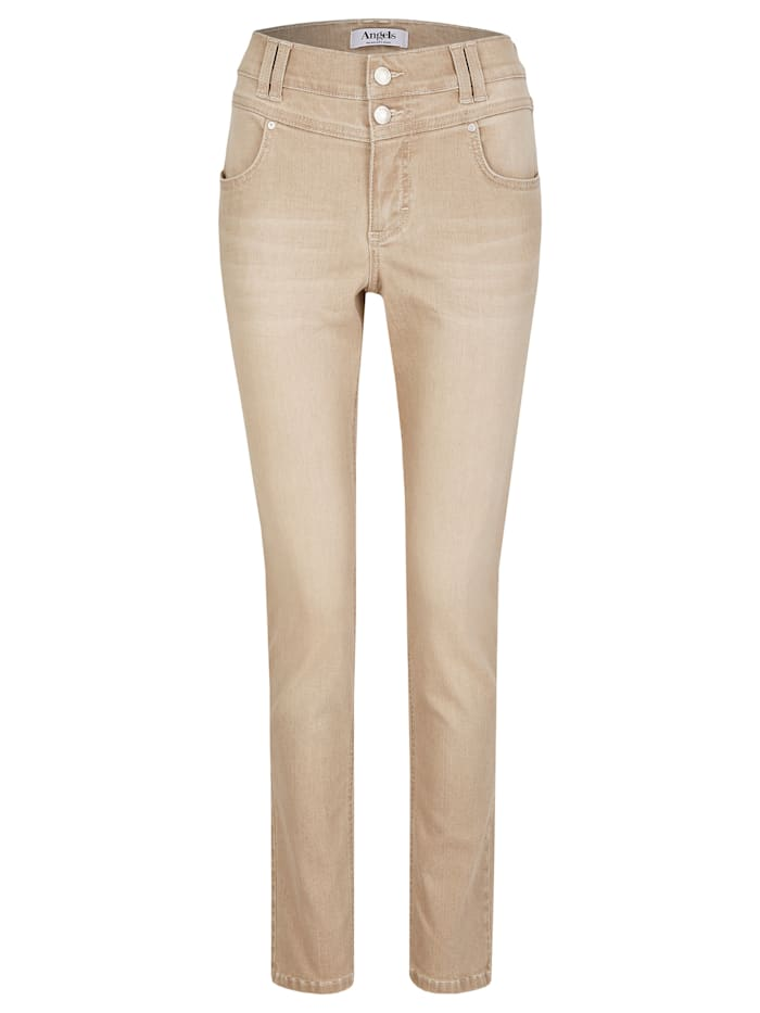 angels - Jeans 'Skinny Button' mit Doppelknopf-Verschluss  light camel used