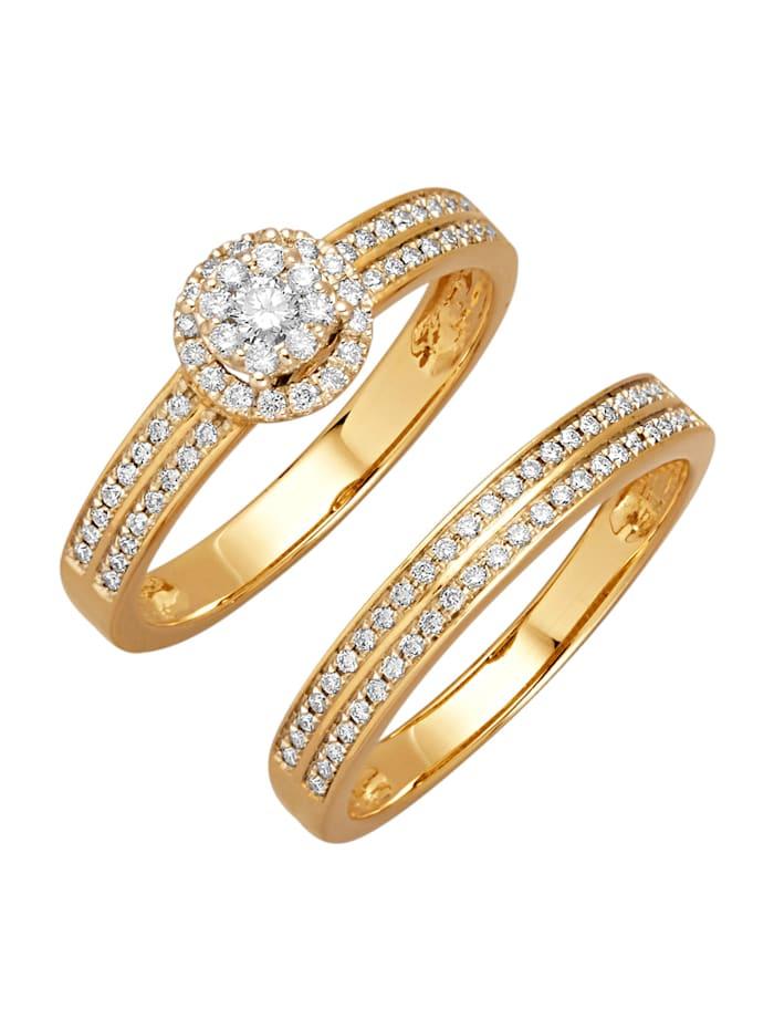 Image of 2tlg. Ring-Set Amara Diamant Weiß