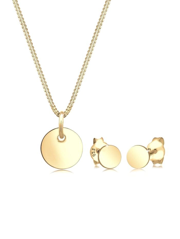 elli - Schmuckset Basic Set Kreis Halskette Ohrstecker 925 Silber  Gold