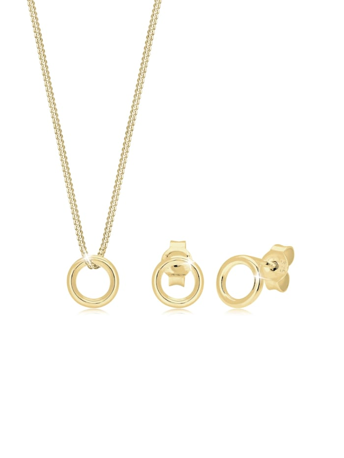 elli premium - Schmuckset Kette Ohrstecker Kreis Geo Basic 375 Gelbgold  Gold
