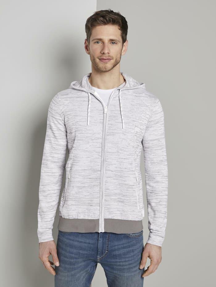 tom tailor - Sweatjacke im Struktur-Mix  white grey mouline