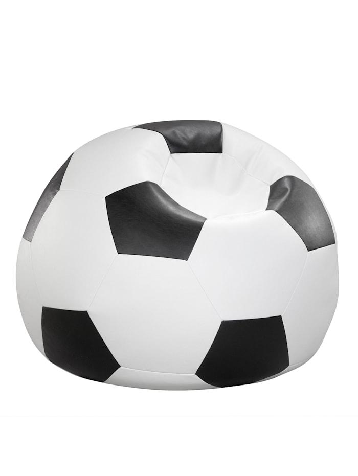 Fussball Sitzsack Sitzkissen Chillkissen Kunstleder Ø 90 cm Linke Licardo schwarz/weiß
