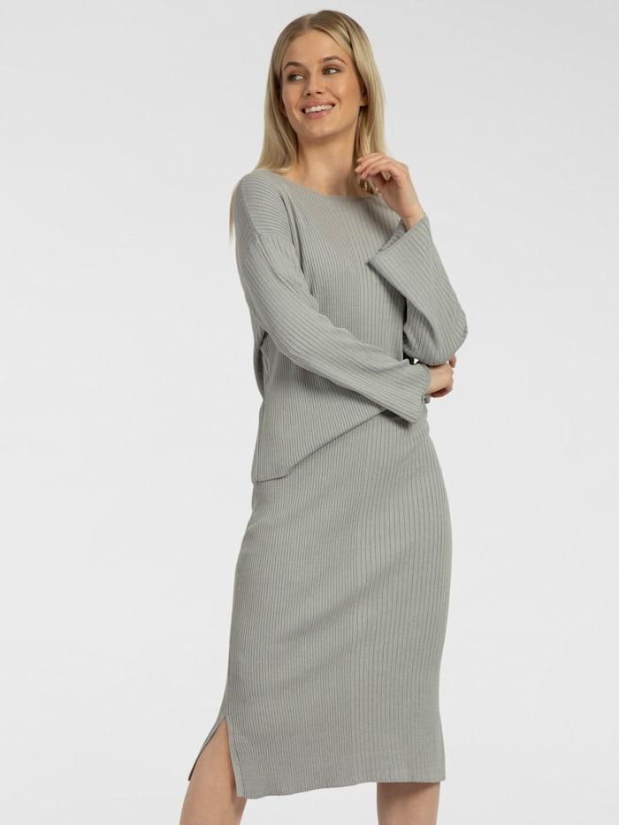 apart - Strick-Set als Ripp-Pullover und Rock  grau