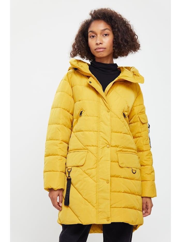 finn flare - Steppmantel mit geradem Schnitt und warmer Kapuze  yellow