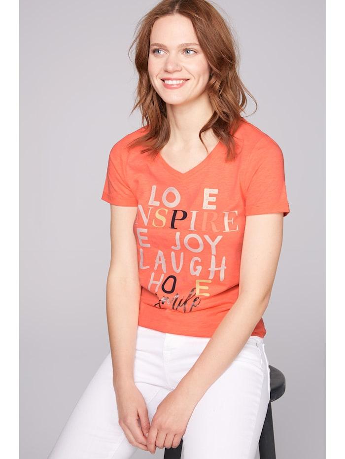 soccx - T-Shirt mit buntem Schriftzug  neon orange