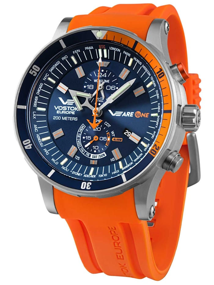 vostok europe - Herrenuhr VEareONE Special Edition Blau/Orange  Blau