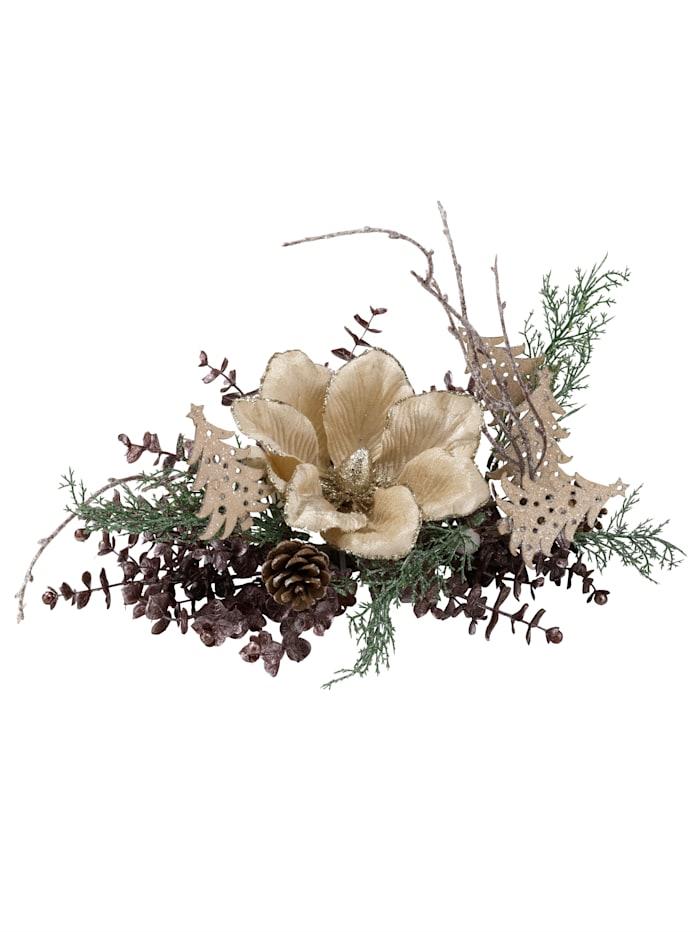 Kerststukje met magnolia IGEA crème/goudkleur