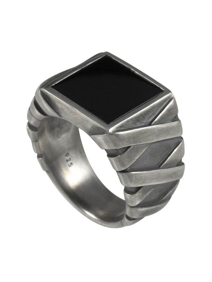 cai - Ring 925/- Sterling Silber Onyx schwarz oxydiert  Silbergrau