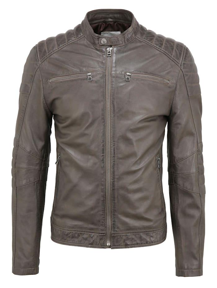 goosecraft - Lederjacke Jacket 965  grey parrot