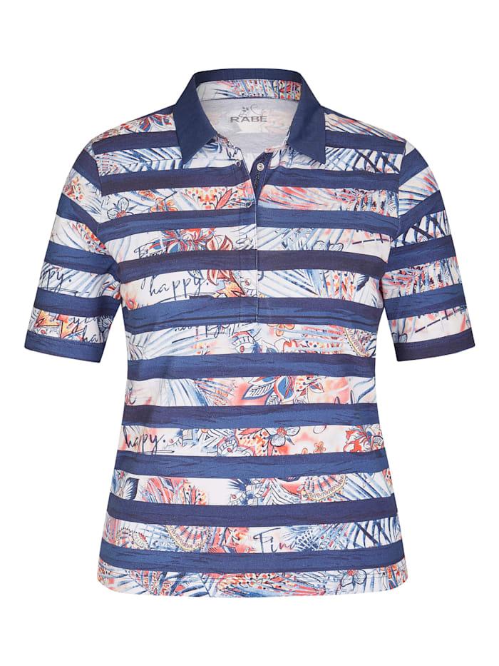 rabe - Shirt mit geringeltem Muster und halblangen Ärmeln  TINTE