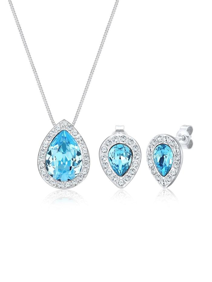 elli premium - Schmuckset Kristalle 925 Sterling Silber  Hellblau