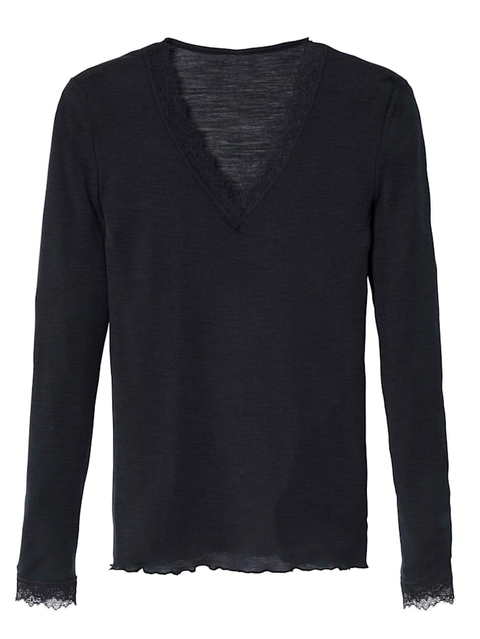 calida - Shirt Langarm aus Wolle  black coal