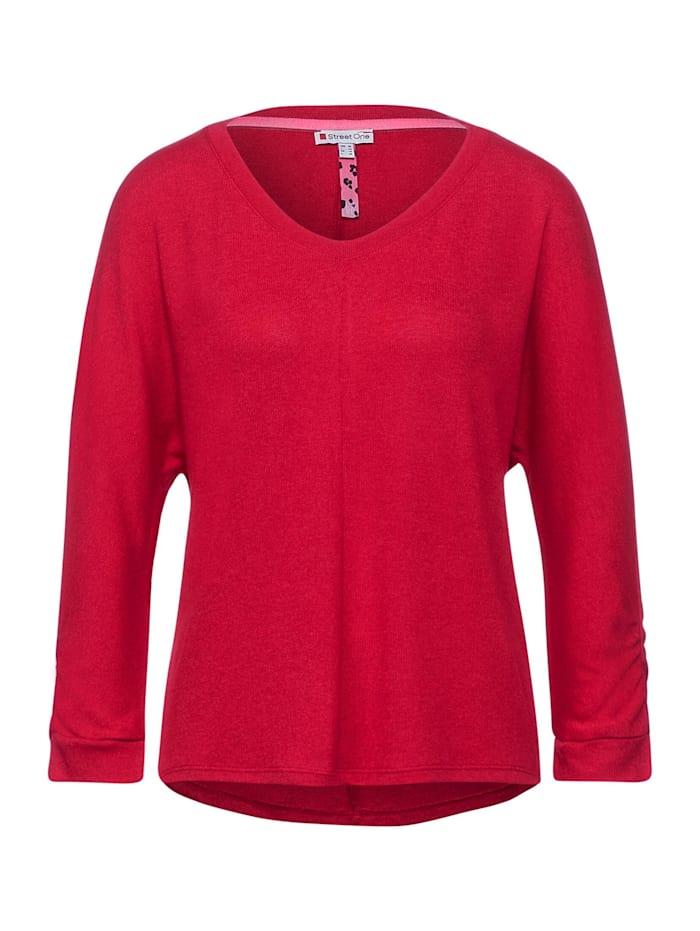 street one - Basic Shirt mit Raffung  full red melange