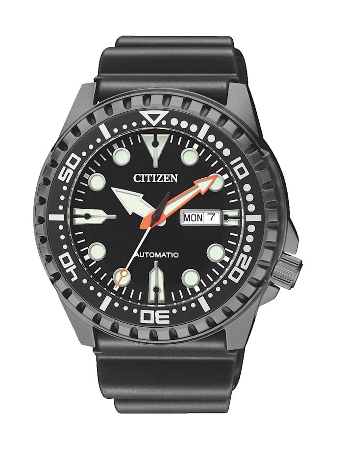 Artikel klicken und genauer betrachten! - Ein optimaler Begleiter ist diese Automatikuhr von Citizen wird Ihrem Handgelenk sicher schmeicheln. Ein wahres Multi-Talent ist diese Automatikuhr denn sie verfügt über eine Mittelsekunde, ein Leuchtindizes, ein Leuchtzeiger, eine Datumsanzeige und eine Lünette. Hat ein schwarzes Bund-Armband aus Kautschuk mit Dornschließe. Das runde, schwarze Gehäuse dieser edlen Uhr wurde aus Edelstahl angefertigt und hat einen Durchmesser von 46 mm.   im Online Shop kaufen