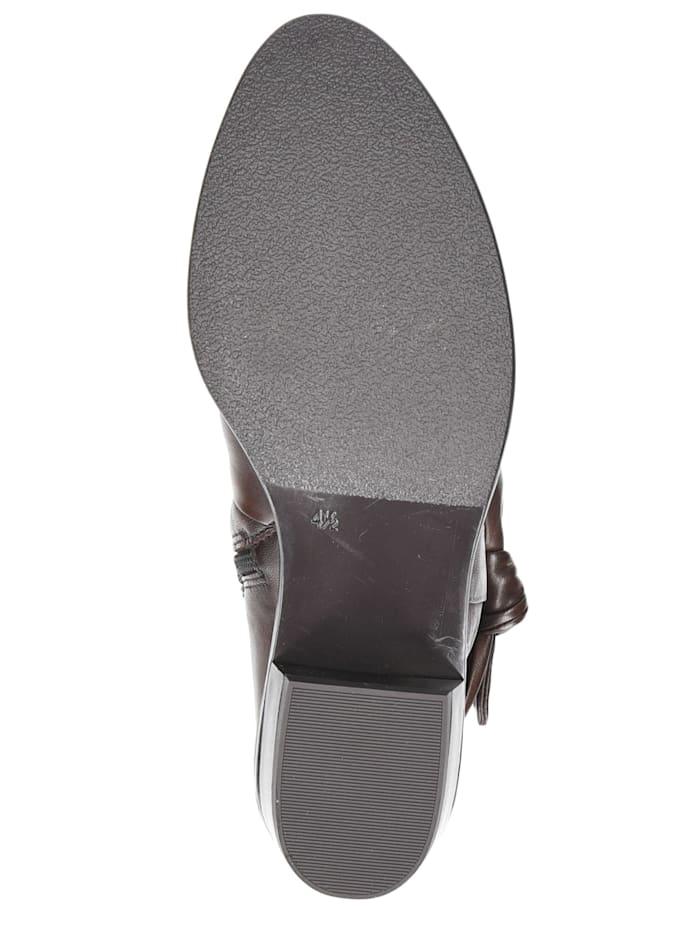 caprice - Damen Leder Siefelette Ankle Boot 9-25360 342 DK Brown Soft Braun  DK Brown Soft