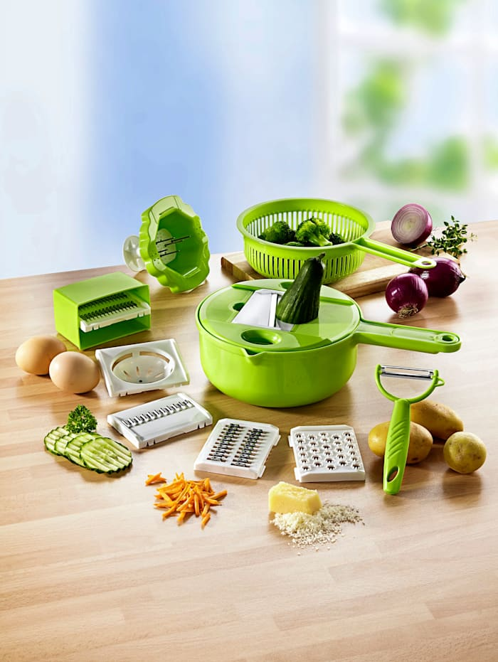 Image of 11tlg. Multi-Küchenhelfer-Set plus Gemüseschäler TRI grün