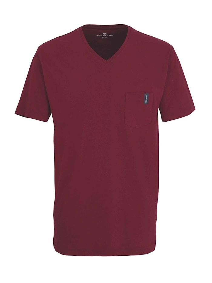 tom tailor - Shirt mit V-Neck  red-medium-solid