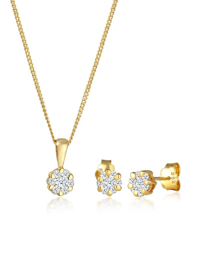 diamore - Schmuckset Blume Klassisch Diamanten (0.45 Ct.) 585 Gelbgold  Gold