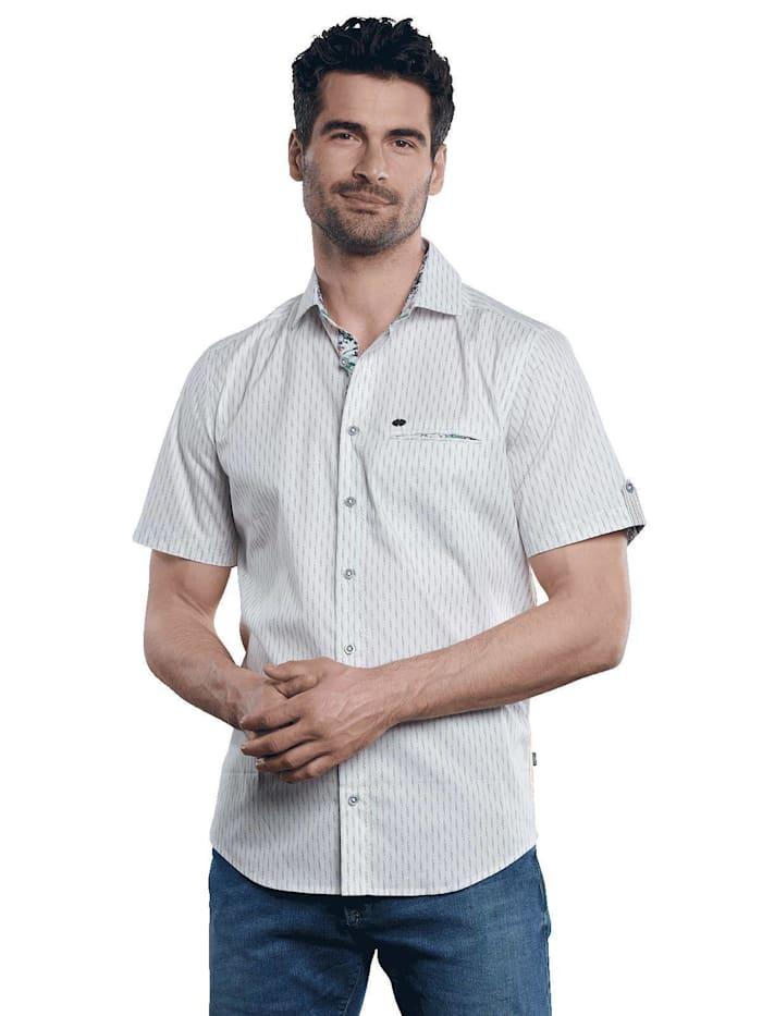 engbers - Kurzarm-Hemd gemustert  Naturweiss
