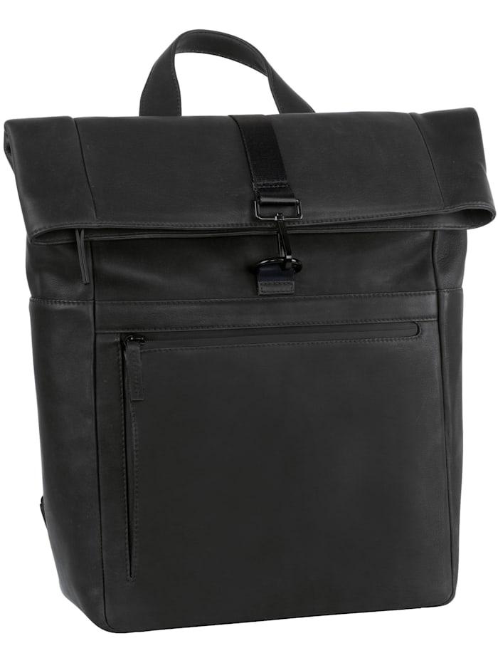 leonhard heyden - Den Haag Rucksack Leder 40 cm Laptopfach  schwarz