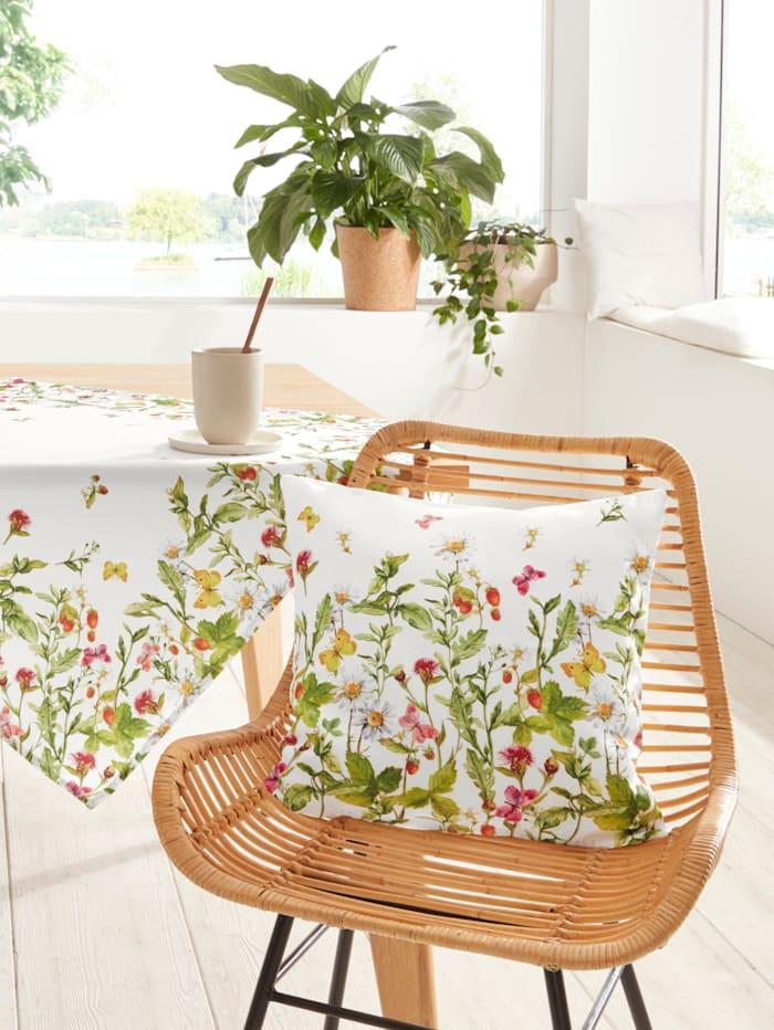 Kussenhoes Bloemenweide Raebel wit/multicolor