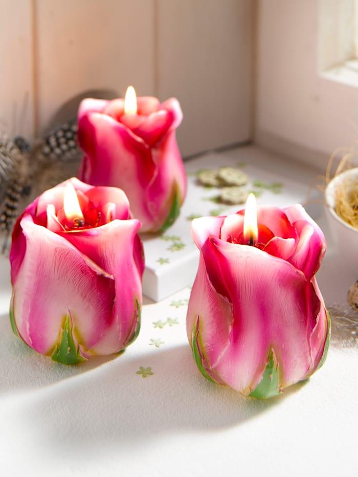 Set van 3 kaarsen Tewa Roze