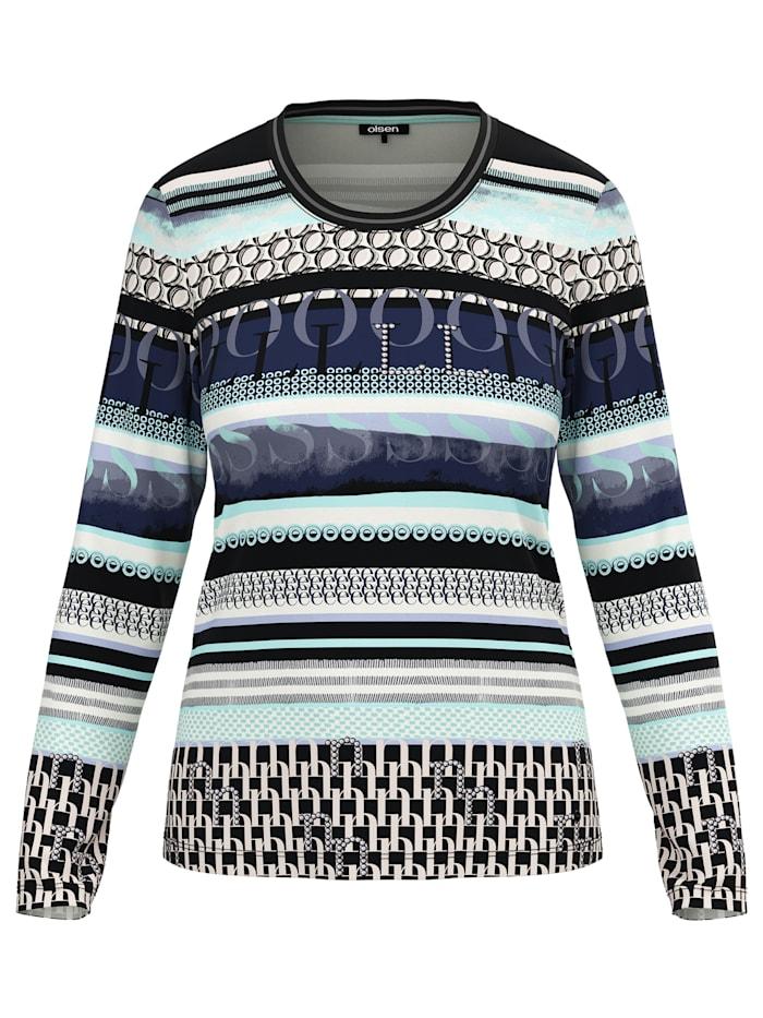 Rundhalsshirt mit modernem Streifenprint Olsen Winter Mint