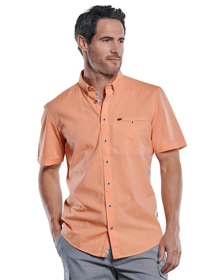 engbers - Sommerliches Kurzarmhemd mit floralen Kontrastdetails  Mandarinorange