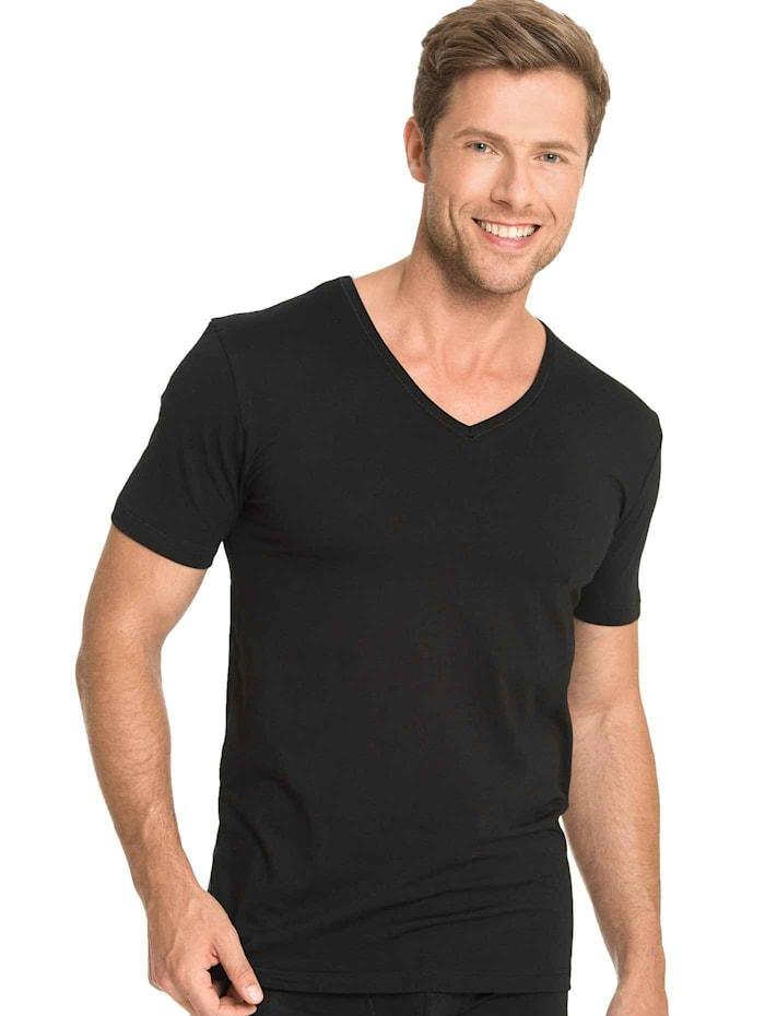 mey - T-Shirt mit V-Neck  schwarz