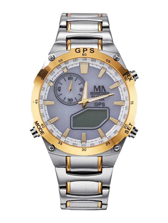 meister anker - Herren-GPS-Solar-Chronograph  Silberfarben